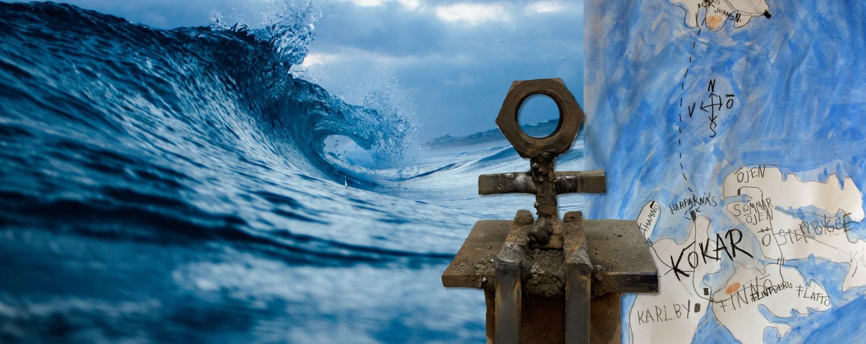 Bild av ett av konstverken på utställningen Ön & havet på Nordens institut på Åland