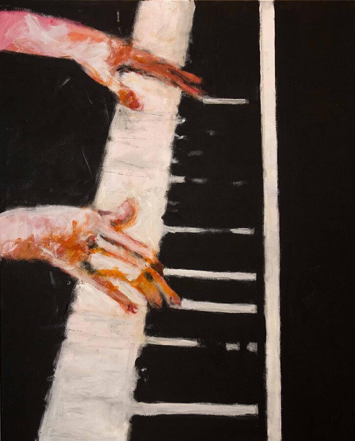 Pianospel. Akryl, 81x96 cm