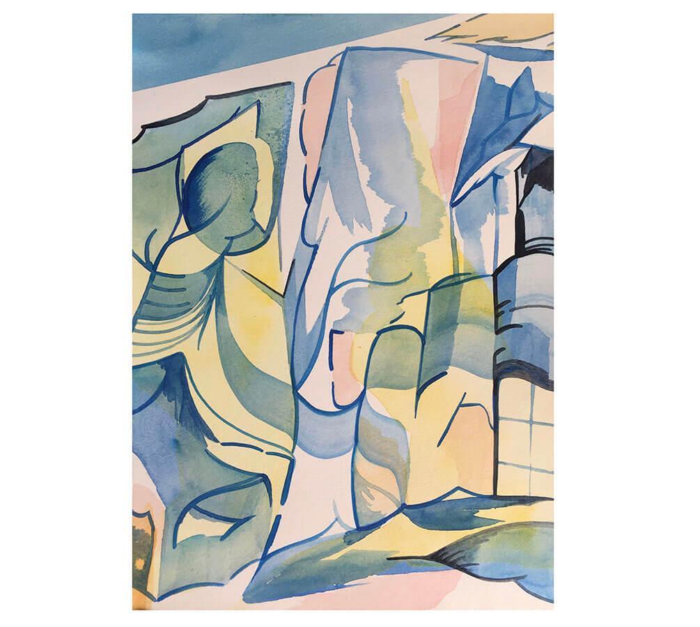Ingen titel. Landskap. 24 x 17 cm. Akvarell. Nicolay Aamodt.