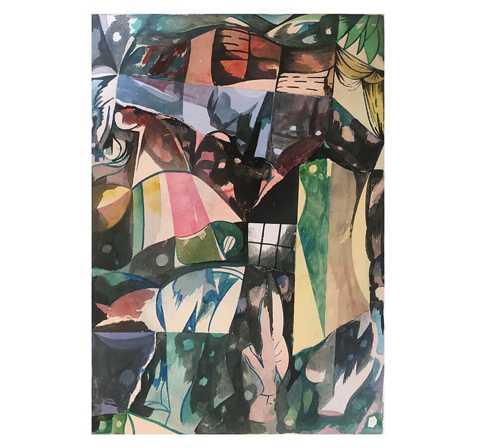 Ingen titel. Landskap. 42 x 30 cm. Akvarell. Nicolay Aamodt.