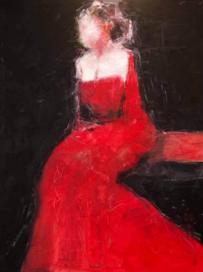 Lady in red. Akryl, 96x118 cm
