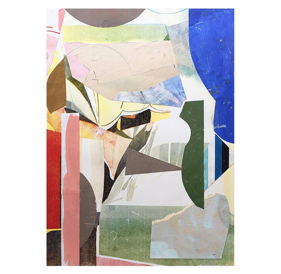 Ingen titel. 76 x 56 cm. Collage silkscreen och olja på papper. Nicolay Aamodt.