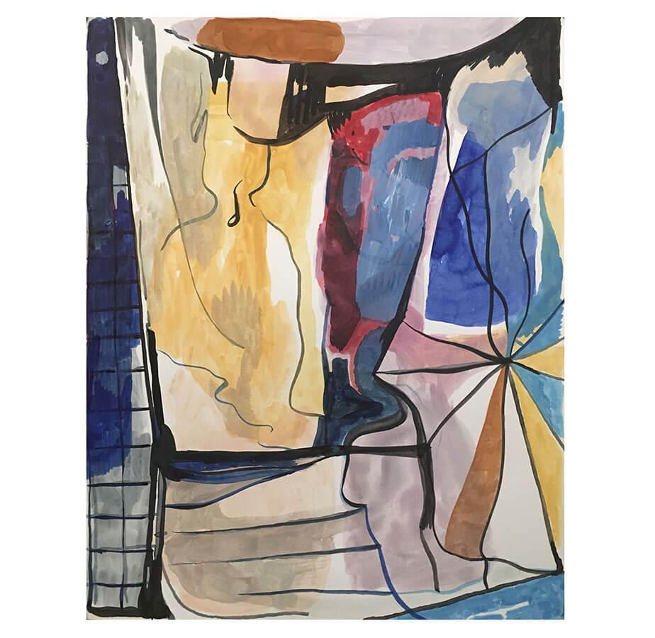 Ingen titel. 30 x 20 cm, Bläck och akvarell. Nicolay Aamodt.