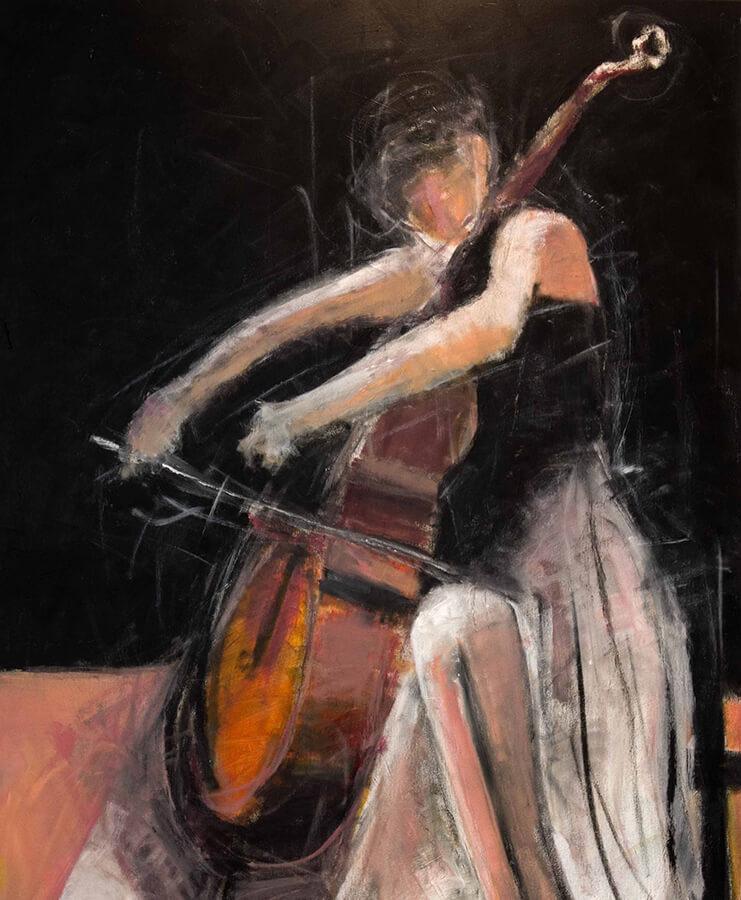 Cello No 1. Akryl, 96x118 cm