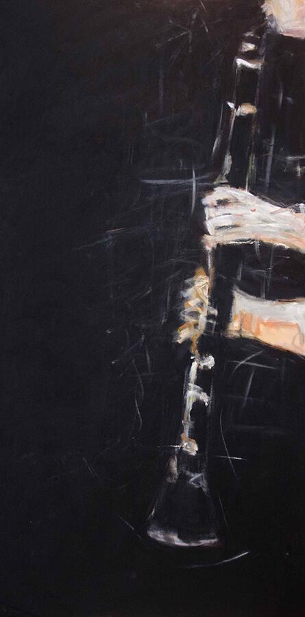 Klarinettspel. Akryl, 70x50 cm