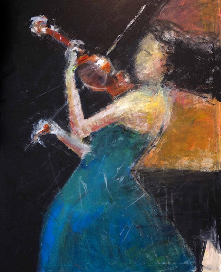 Fiolspel No 2. Akryl, 96x118 cm