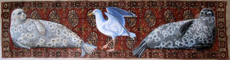 """Baltic ringed seals, konstverk av Liisa Kanerva - från utställningen """"Förändringar"""" vid Nordens institut på Åland"""