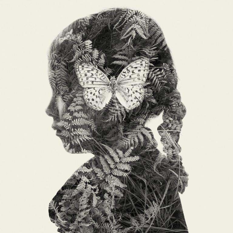 Christoffer Relander, fotoutställning vid Nordens institut på Åland. I bild visas konstverket Butterfly + mind