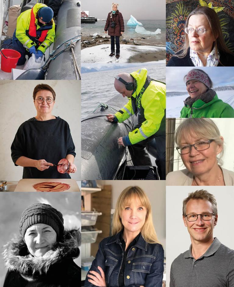 En samlingsbild av personerna, konstnärer och forskare, bakom utställningen och projektet Changes on the Northern Shores