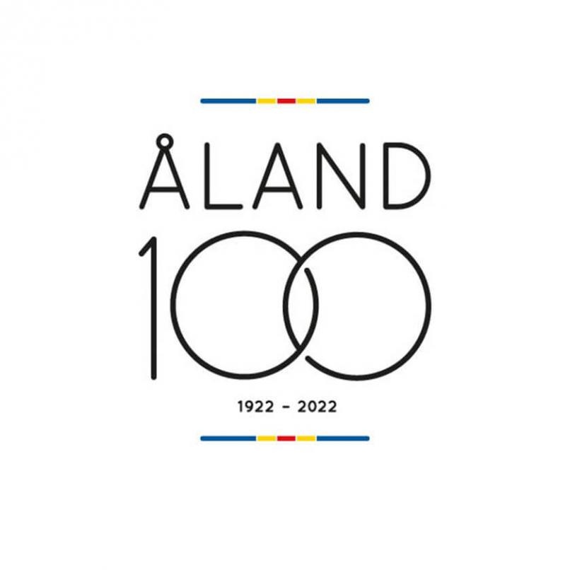 Bilden visar Åland100 logotyp.