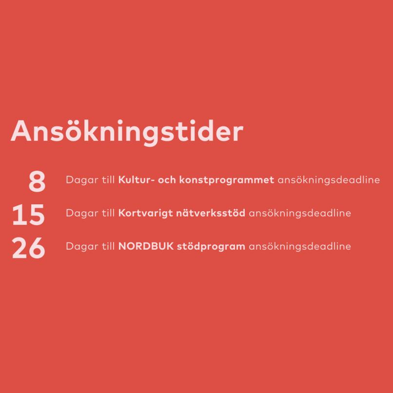 Deadlines för ansökan Nordisk Kulturkontakt