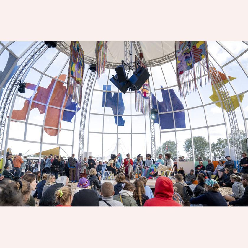 Fotot är från Art zone på Roskilde Festival 2019. En festival där hållbarhetär inkluderati alla delarfrånmatbodar till avfallshantering.FotografCelina Dahl/Ritzau Scanpix